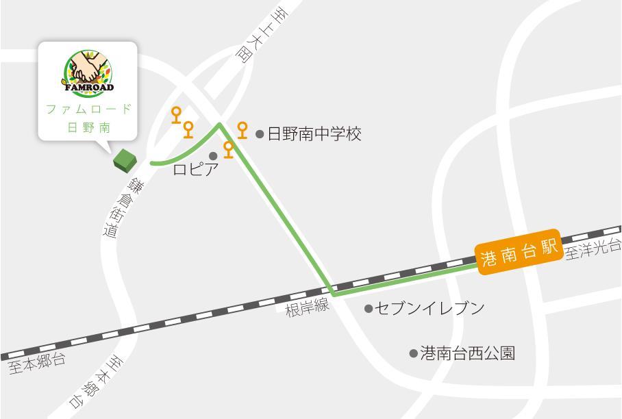 ファムロードまでのアクセスマップ画像